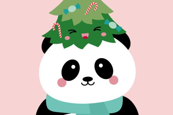 Panda met kerstboom – Studio Inktvis