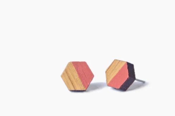 Houten knopjes zeshoek coral – Desired Design